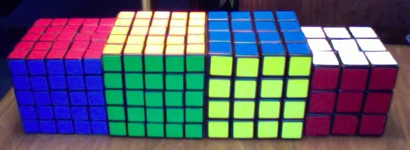 and Eastsheen 5x5, the V-Cube 5, Rubik's 4x4, and a Rubik's 3x3